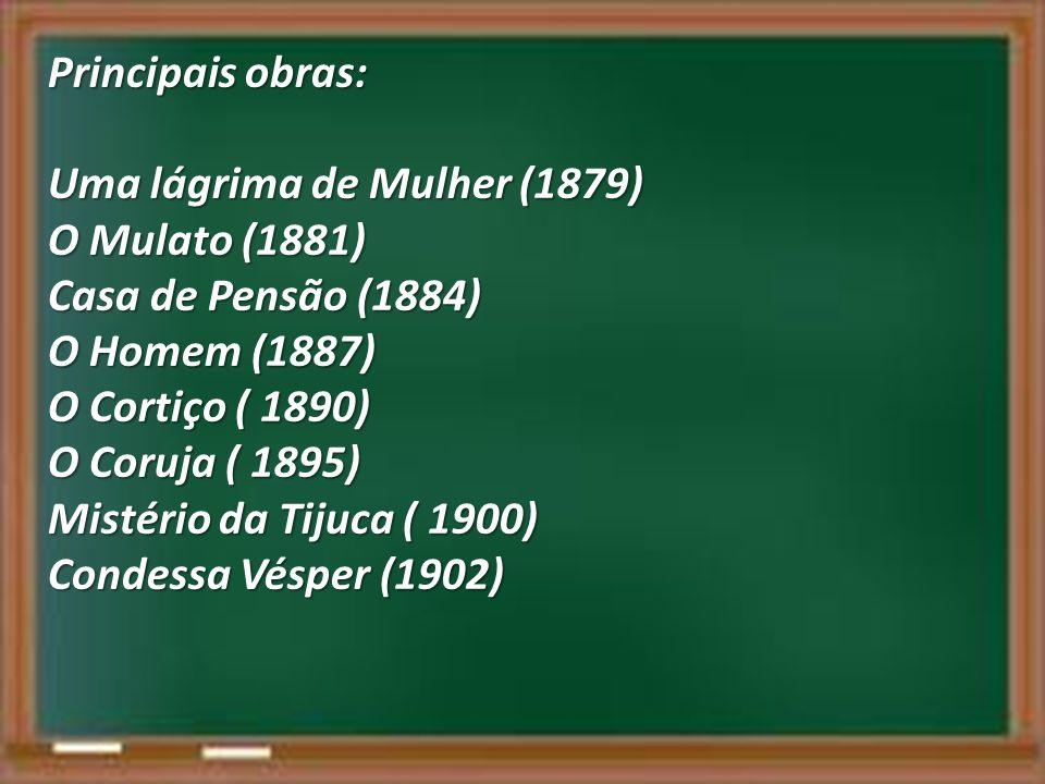 Principais obras: Uma lágrima de Mulher (1879) O Mulato (1881) Casa de Pensão (1884) O Homem (1887) O Cortiço ( 1890) O Coruja ( 1895) Mistério da Tij
