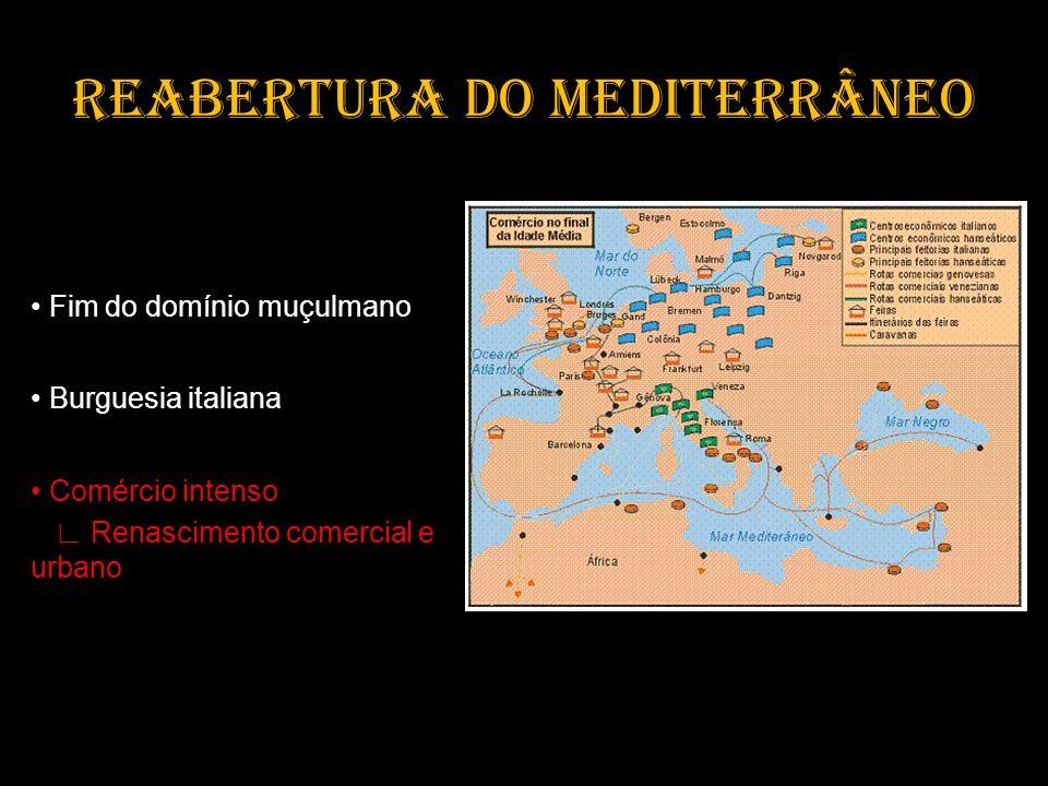 REABERTURA DO MEDITERRÂNEO Fim do domínio muçulmano Burguesia italiana Comércio intenso Renascimento comercial e urbano
