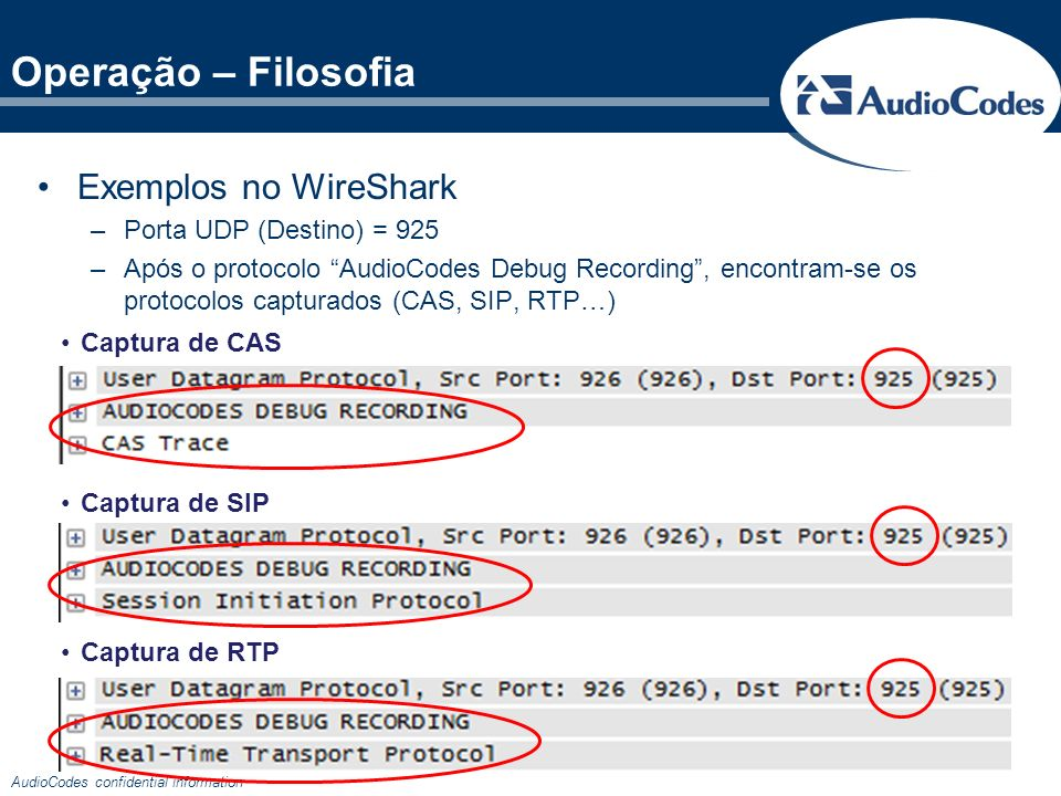 AudioCodes confidential information Operação – Filosofia Captura de CAS Captura de SIP Captura de RTP Exemplos no WireShark –Porta UDP (Destino) = 925