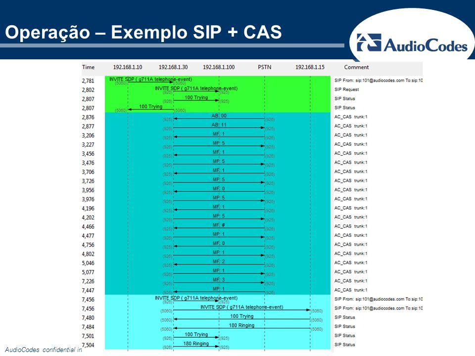 AudioCodes confidential information Operação – Exemplo SIP + CAS