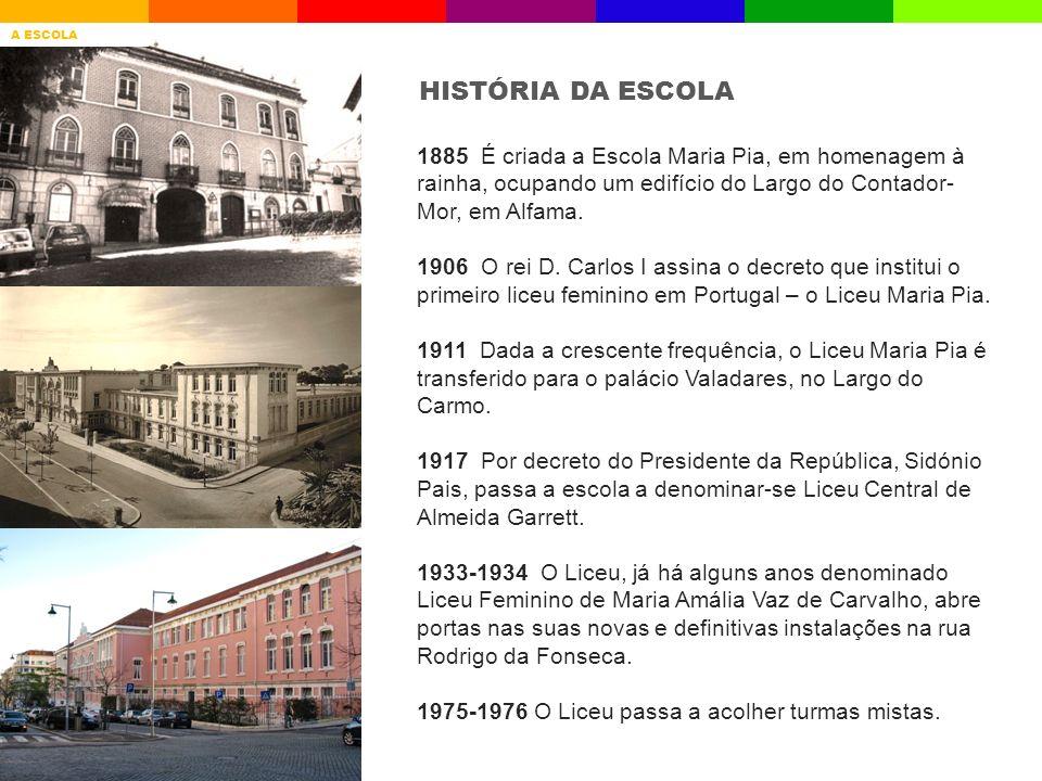 HISTÓRIA DA ESCOLA 1885 É criada a Escola Maria Pia, em homenagem à rainha, ocupando um edifício do Largo do Contador- Mor, em Alfama. 1906 O rei D. C
