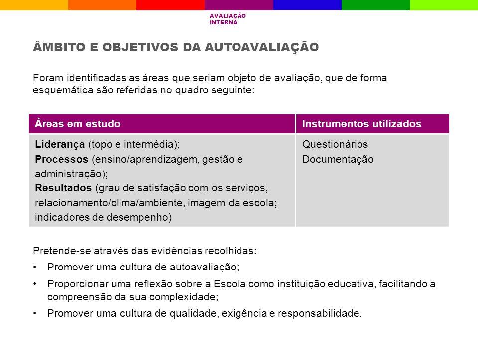 Áreas em estudoInstrumentos utilizados Liderança (topo e intermédia); Processos (ensino/aprendizagem, gestão e administração); Resultados (grau de sat