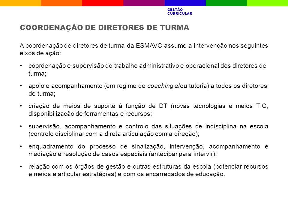 A coordenação de diretores de turma da ESMAVC assume a intervenção nos seguintes eixos de ação: coordenação e supervisão do trabalho administrativo e