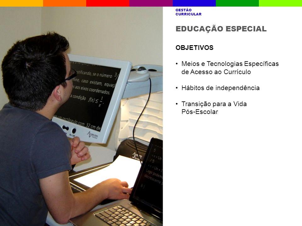 EDUCAÇÃO ESPECIAL OBJETIVOS Meios e Tecnologias Específicas de Acesso ao Currículo Hábitos de independência Transição para a Vida Pós-Escolar A ESCOLA