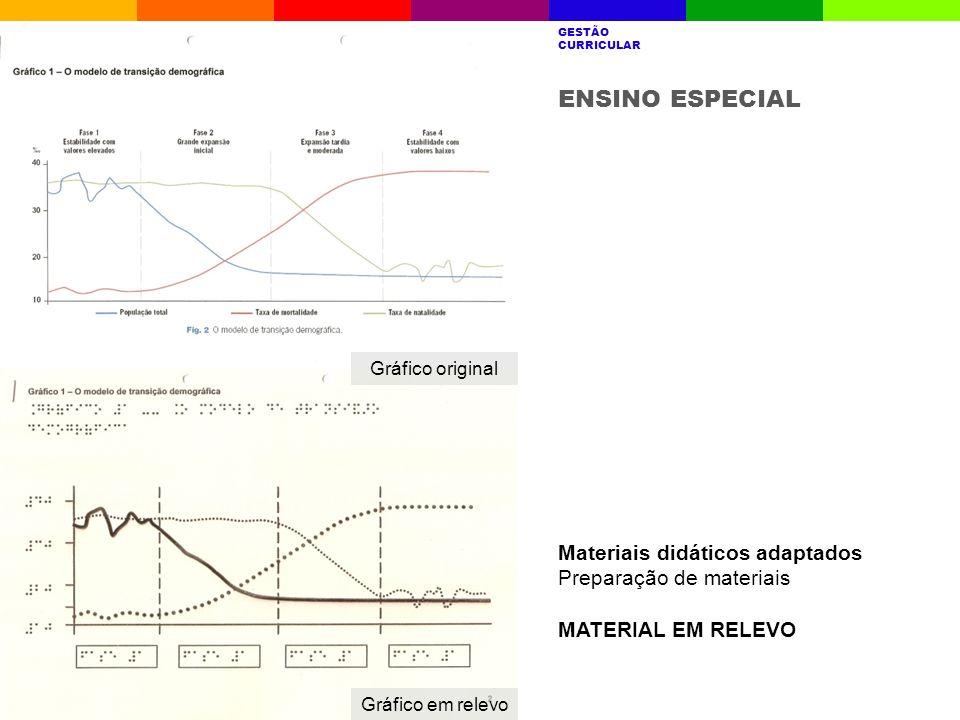 ENSINO ESPECIAL Materiais didáticos adaptados Preparação de materiais MATERIAL EM RELEVO A ESCOLAQUEM SOMOSRESULTADOS ESCOLARES AVALIAÇÃO INTERNA GEST