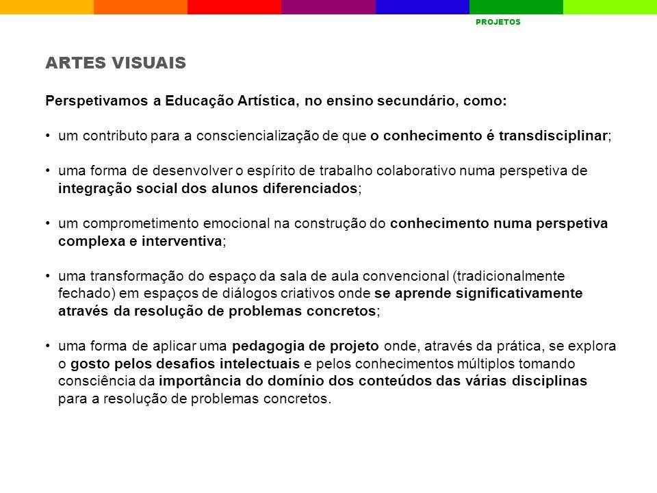 A ESCOLAQUEM SOMOSRESULTADOS ESCOLARES AVALIAÇÃO INTERNA GESTÃO CURRICULAR PROJETOSDESAFIOS PROJETOS ARTES VISUAIS Perspetivamos a Educação Artística,