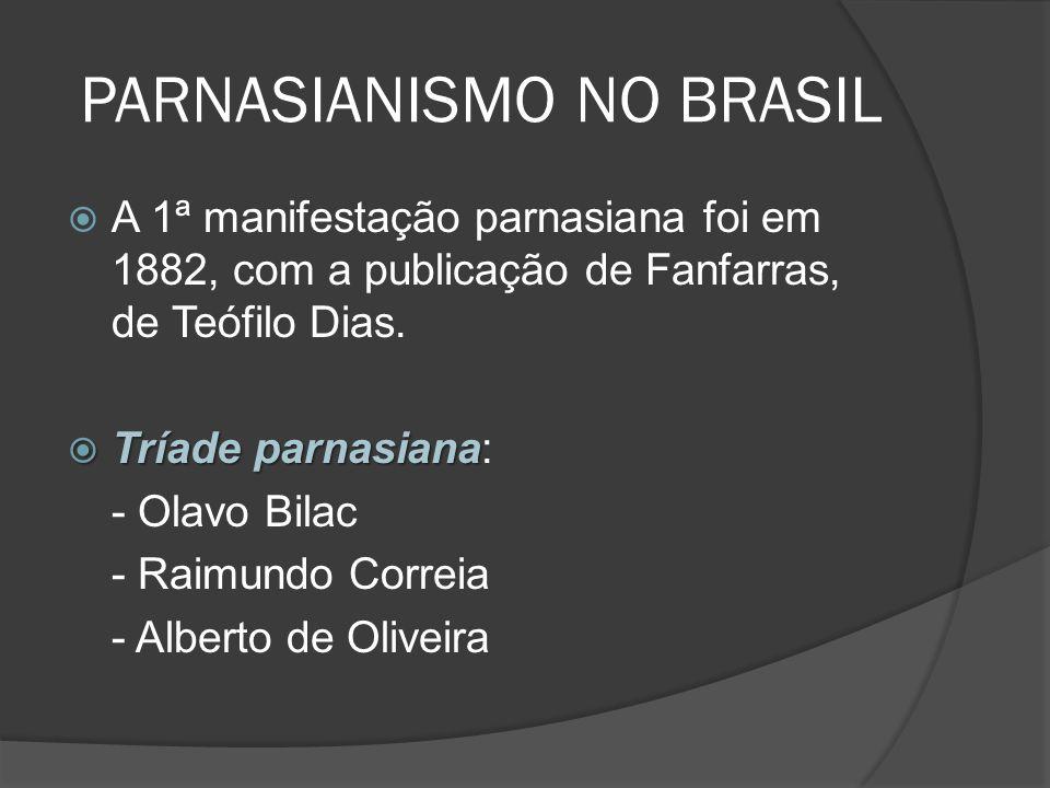A 1ª manifestação parnasiana foi em 1882, com a publicação de Fanfarras, de Teófilo Dias. Tríade parnasiana Tríade parnasiana: - Olavo Bilac - Raimund