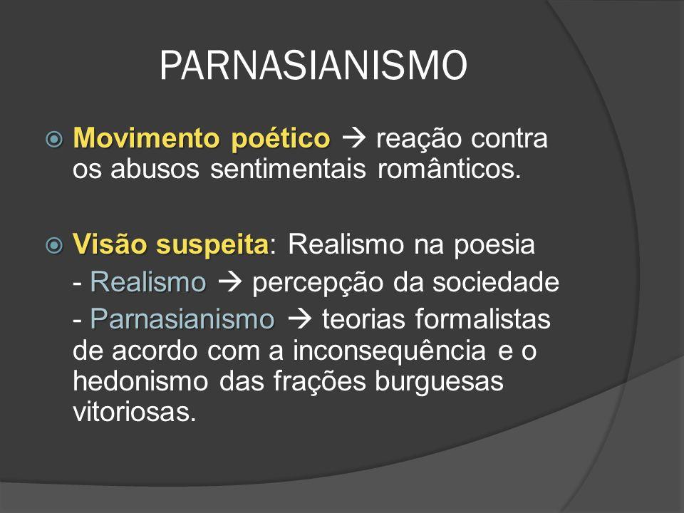 PARNASIANISMO Movimento poético Movimento poético reação contra os abusos sentimentais românticos.