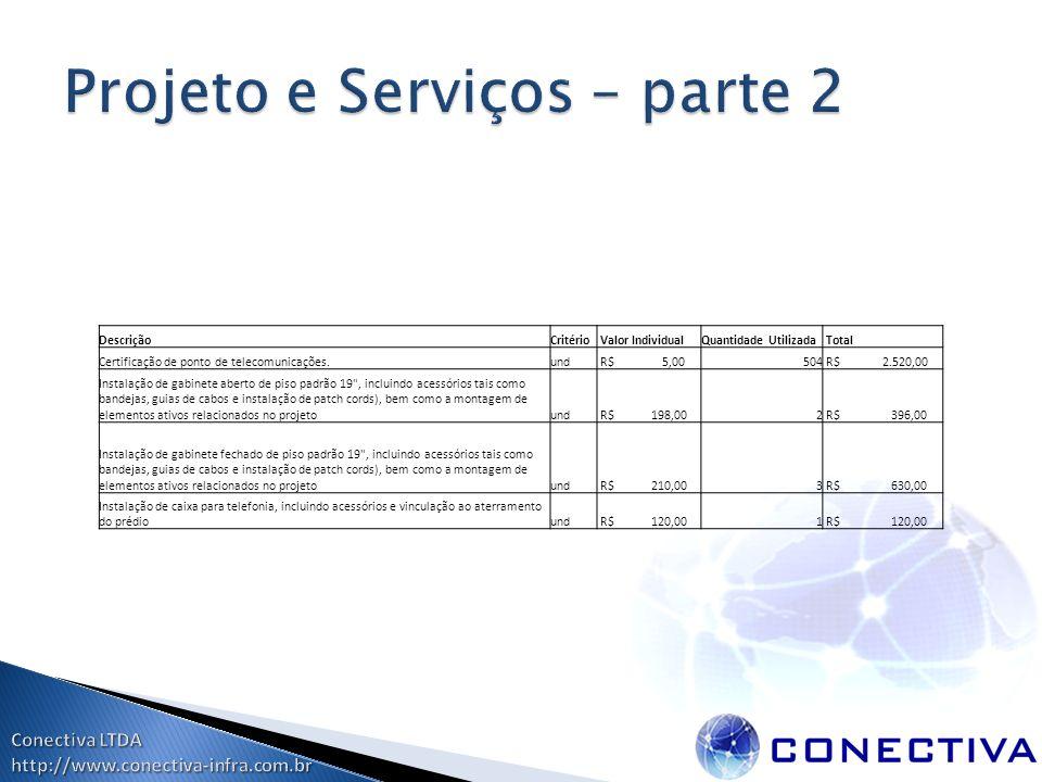 DescriçãoCritério Valor IndividualQuantidade Utilizada Total Certificação de ponto de telecomunicações.und R$ 5,00504 R$ 2.520,00 Instalação de gabine