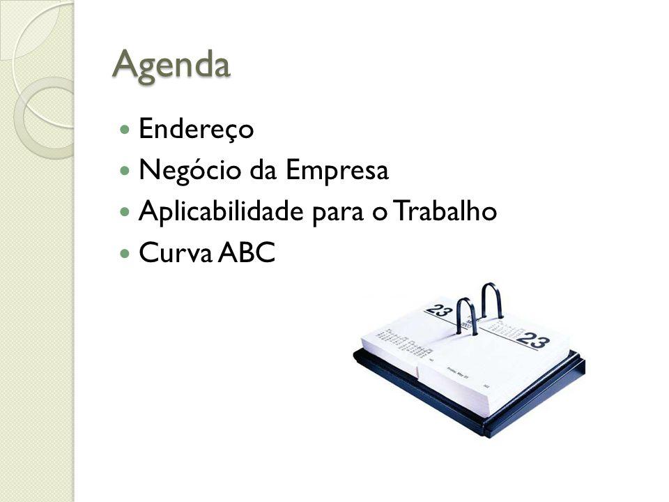 Agenda Endereço Negócio da Empresa Aplicabilidade para o Trabalho Curva ABC