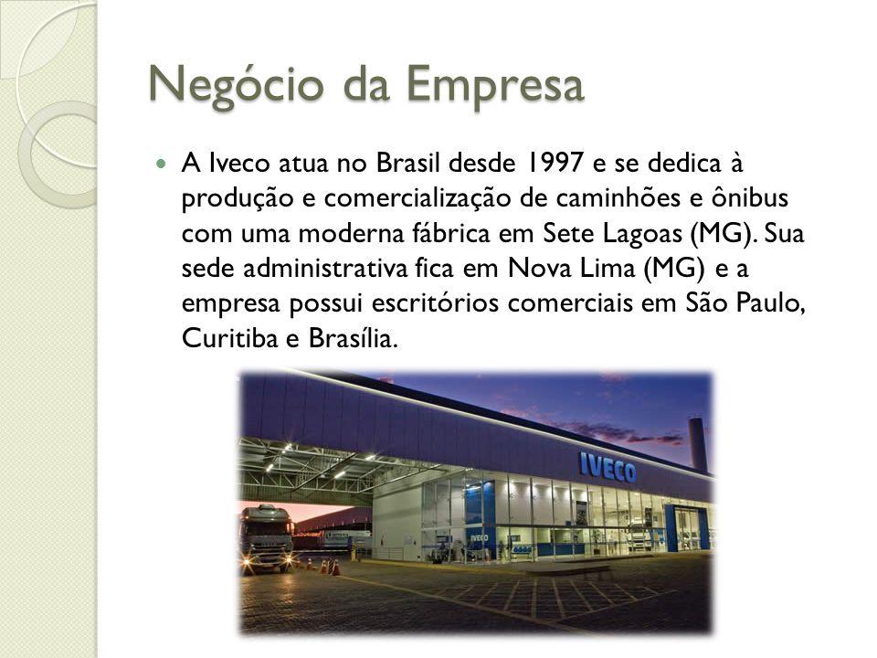 Negócio da Empresa A Iveco atua no Brasil desde 1997 e se dedica à produção e comercialização de caminhões e ônibus com uma moderna fábrica em Sete La