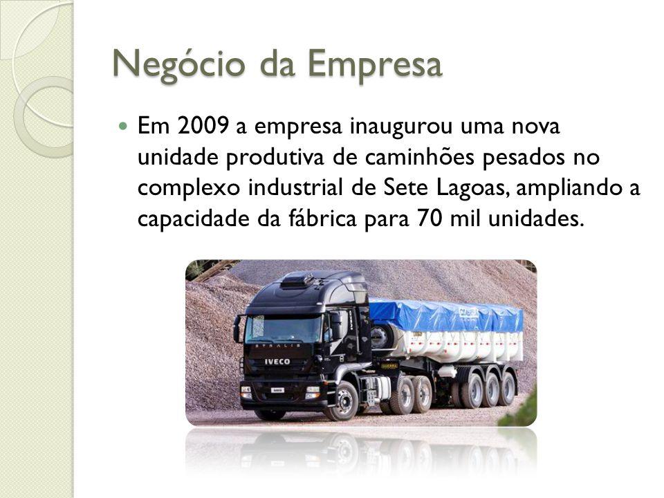Negócio da Empresa Em 2009 a empresa inaugurou uma nova unidade produtiva de caminhões pesados no complexo industrial de Sete Lagoas, ampliando a capa
