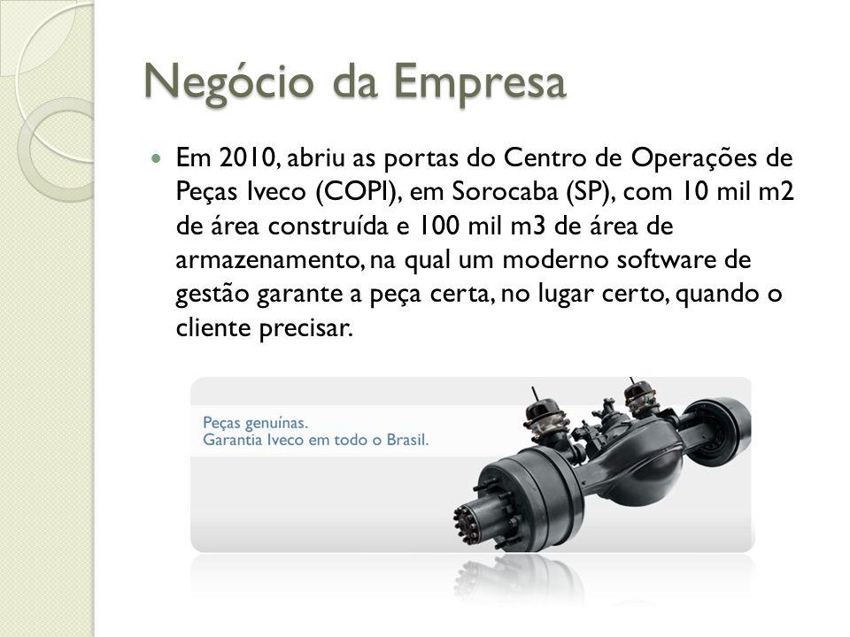 Negócio da Empresa Em 2010, abriu as portas do Centro de Operações de Peças Iveco (COPI), em Sorocaba (SP), com 10 mil m2 de área construída e 100 mil