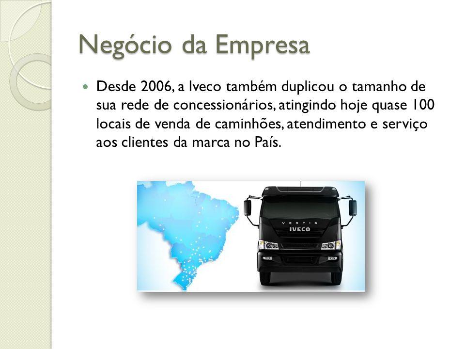 Negócio da Empresa Desde 2006, a Iveco também duplicou o tamanho de sua rede de concessionários, atingindo hoje quase 100 locais de venda de caminhões