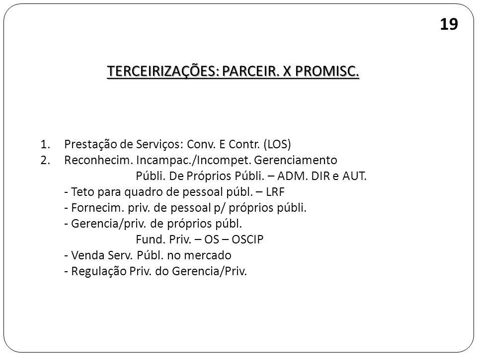 TERCEIRIZAÇÕES: PARCEIR. X PROMISC. 19 1.Prestação de Serviços: Conv. E Contr. (LOS) 2.Reconhecim. Incampac./Incompet. Gerenciamento Públi. De Próprio