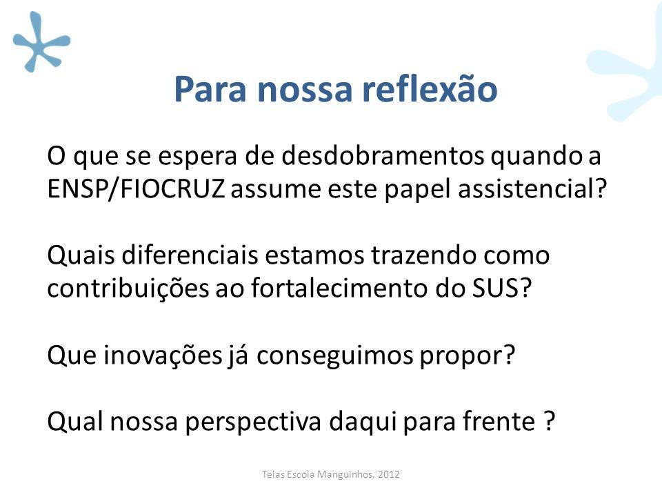 Para nossa reflexão O que se espera de desdobramentos quando a ENSP/FIOCRUZ assume este papel assistencial? Quais diferenciais estamos trazendo como c