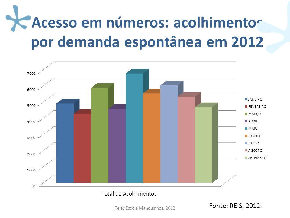 Acesso em números: acolhimentos por demanda espontânea em 2012 Teias Escola Manguinhos, 2012 Fonte: REIS, 2012.