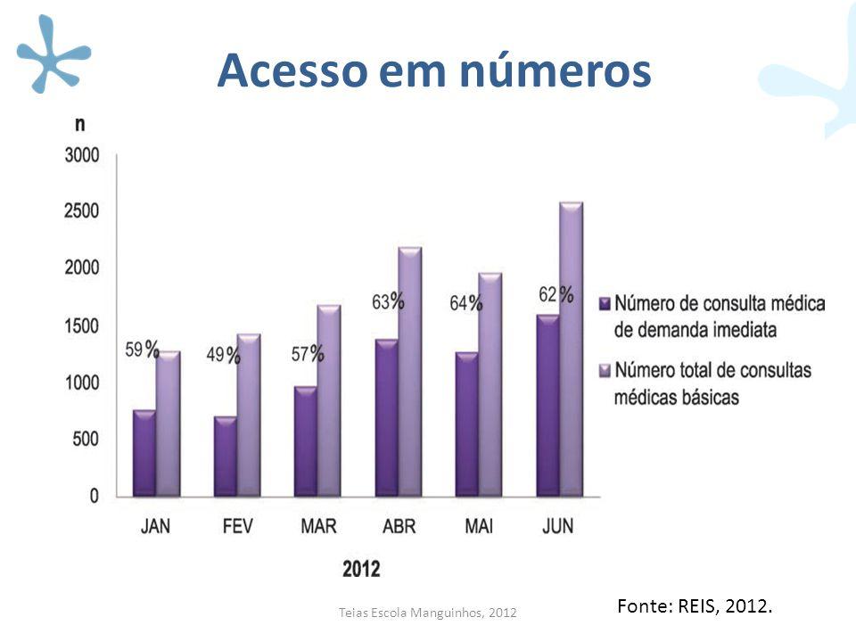 Acesso em números Colocar gráficos Teias Escola Manguinhos, 2012 Fonte: REIS, 2012.