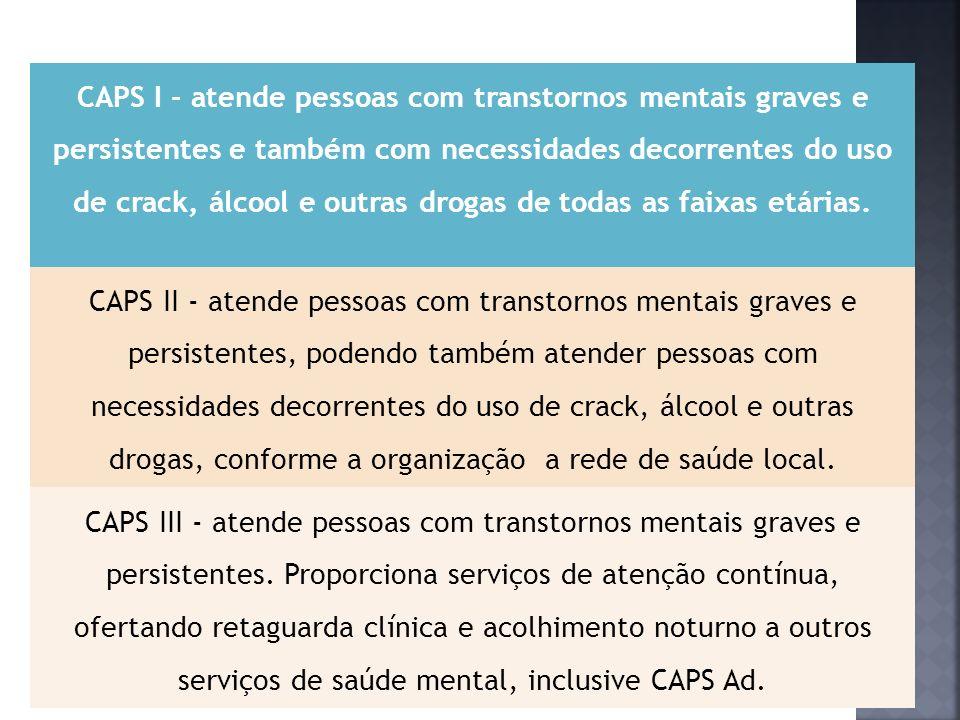 CAPSi - atende crianças e adolescentes com transtornos mentais graves e persistentes e os que fazem uso de crack, álcool e outras drogas.