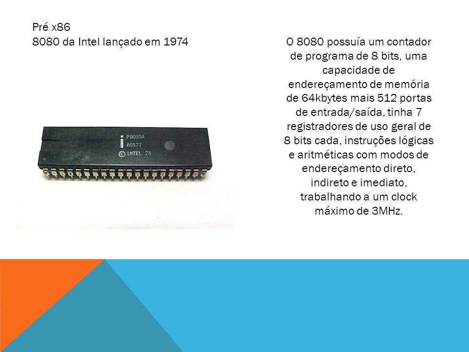 O 8080 possuía um contador de programa de 8 bits, uma capacidade de endereçamento de memória de 64kbytes mais 512 portas de entrada/saída, tinha 7 reg