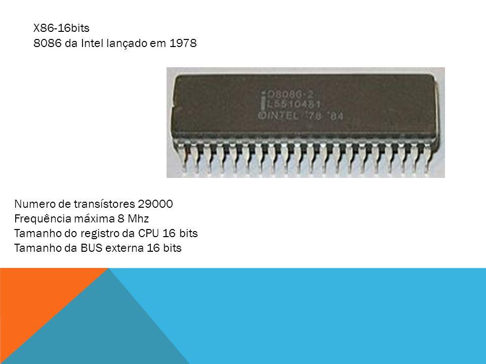 8086 da Intel lançado em 1978 Numero de transístores 29000 Frequência máxima 8 Mhz Tamanho do registro da CPU 16 bits Tamanho da BUS externa 16 bits X