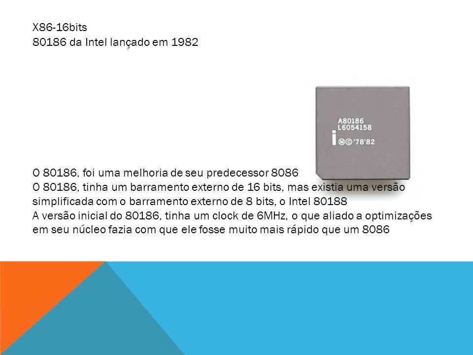 O 80186, foi uma melhoria de seu predecessor 8086 O 80186, tinha um barramento externo de 16 bits, mas existia uma versão simplificada com o barrament