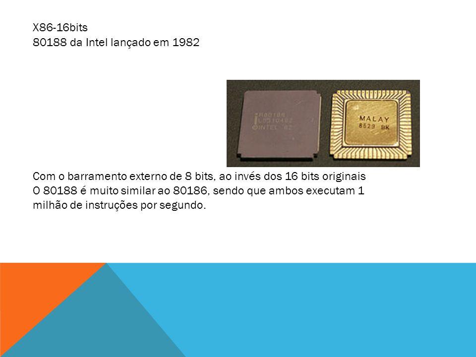 80188 da Intel lançado em 1982 Com o barramento externo de 8 bits, ao invés dos 16 bits originais O 80188 é muito similar ao 80186, sendo que ambos ex