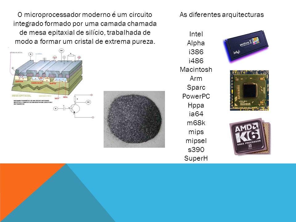 O microprocessador moderno é um circuito integrado formado por uma camada chamada de mesa epitaxial de silício, trabalhada de modo a formar um cristal