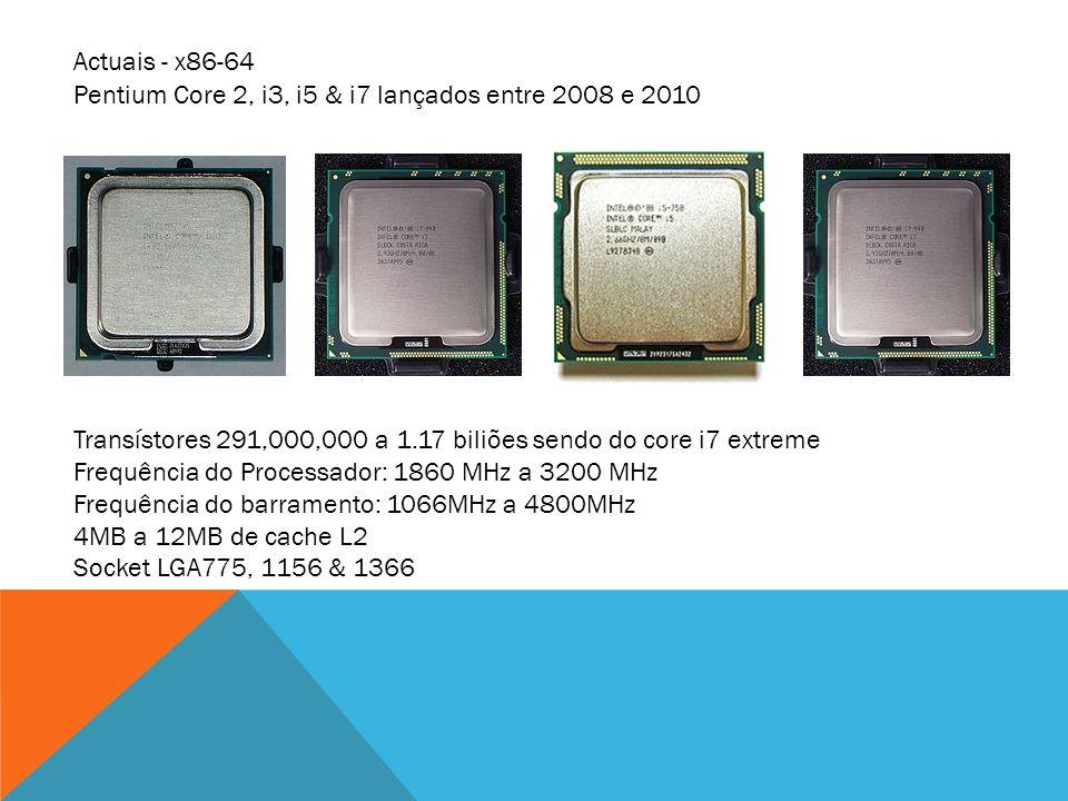 Pentium Core 2, i3, i5 & i7 lançados entre 2008 e 2010 Transístores 291,000,000 a 1.17 biliões sendo do core i7 extreme Frequência do Processador: 186