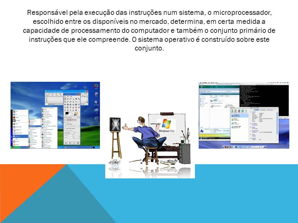 Responsável pela execução das instruções num sistema, o microprocessador, escolhido entre os disponíveis no mercado, determina, em certa medida a capa