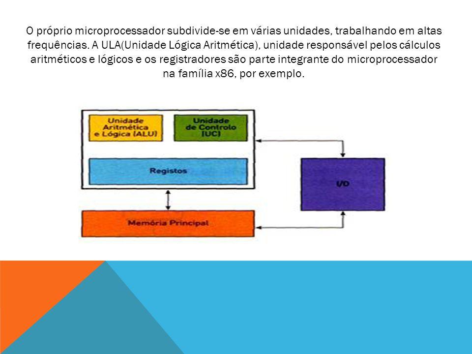 O próprio microprocessador subdivide-se em várias unidades, trabalhando em altas frequências. A ULA(Unidade Lógica Aritmética), unidade responsável pe