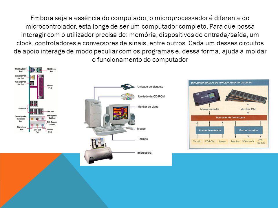 Embora seja a essência do computador, o microprocessador é diferente do microcontrolador, está longe de ser um computador completo. Para que possa int
