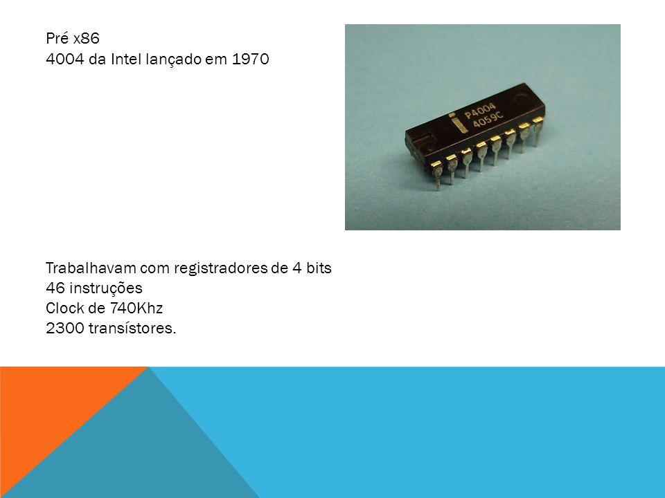 4004 da Intel lançado em 1970 Trabalhavam com registradores de 4 bits 46 instruções Clock de 740Khz 2300 transístores. Pré x86