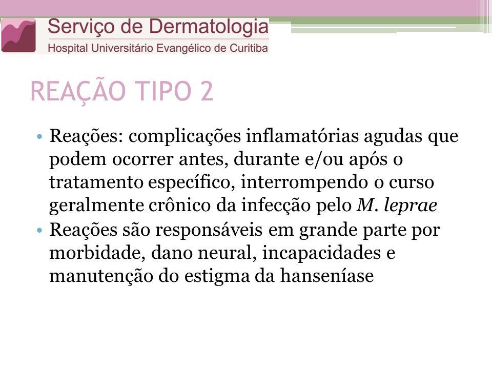 REAÇÃO TIPO 2 Reações: complicações inflamatórias agudas que podem ocorrer antes, durante e/ou após o tratamento específico, interrompendo o curso ger