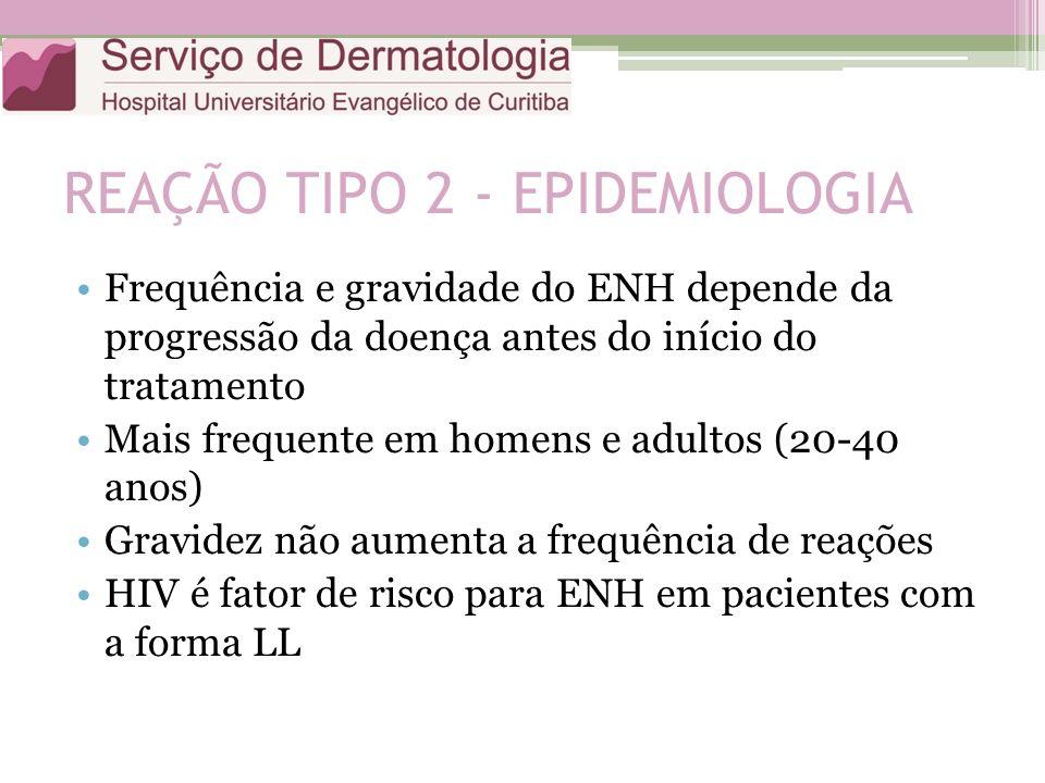 REAÇÃO TIPO 2 - EPIDEMIOLOGIA Frequência e gravidade do ENH depende da progressão da doença antes do início do tratamento Mais frequente em homens e a