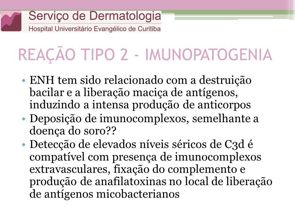 REAÇÃO TIPO 2 - IMUNOPATOGENIA ENH tem sido relacionado com a destruição bacilar e a liberação maciça de antígenos, induzindo a intensa produção de an