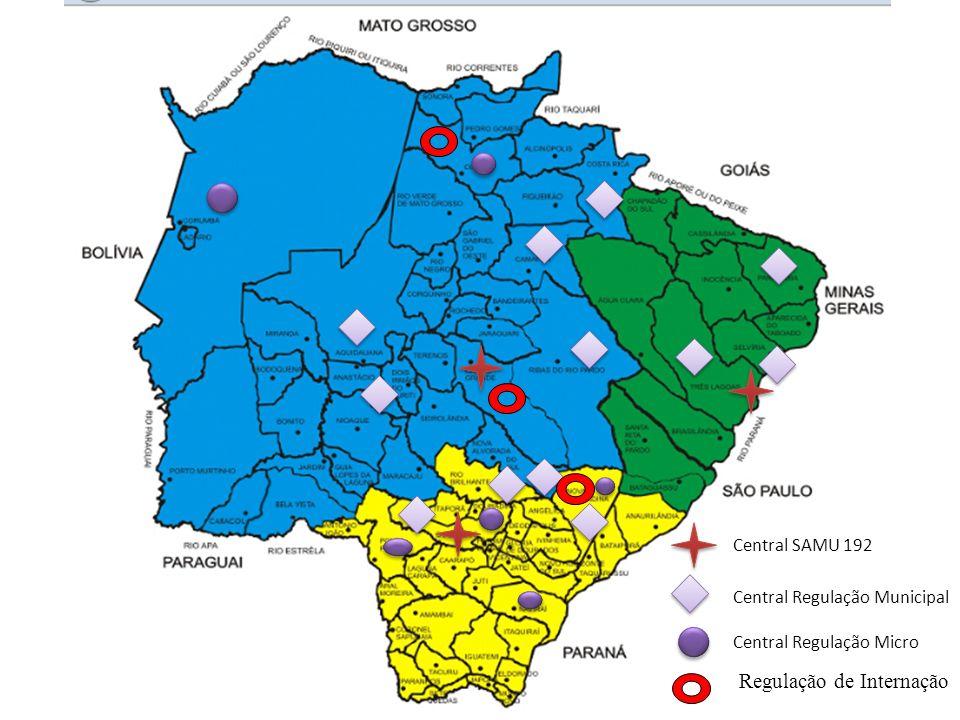 Proposta para SAMU em Consonância direta com a CERA SAMU Estadual – Corumbá – Ladário – Aquidauana – Anastácio – Coxim – Ponta Porã – Mundo Novo Regionalização do SAMU Campo Grande = 755.207 para 831.721 hab.