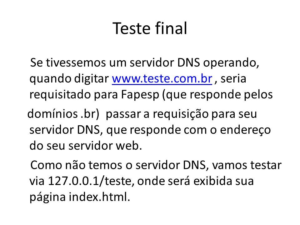 Teste final Se tivessemos um servidor DNS operando, quando digitar www.teste.com.br, seria requisitado para Fapesp (que responde peloswww.teste.com.br
