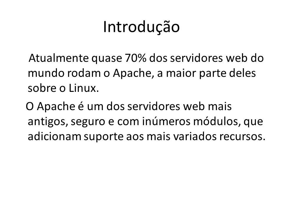 Introdução Atualmente quase 70% dos servidores web do mundo rodam o Apache, a maior parte deles sobre o Linux. O Apache é um dos servidores web mais a