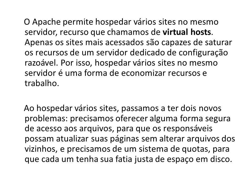 O Apache permite hospedar vários sites no mesmo servidor, recurso que chamamos de virtual hosts. Apenas os sites mais acessados são capazes de saturar