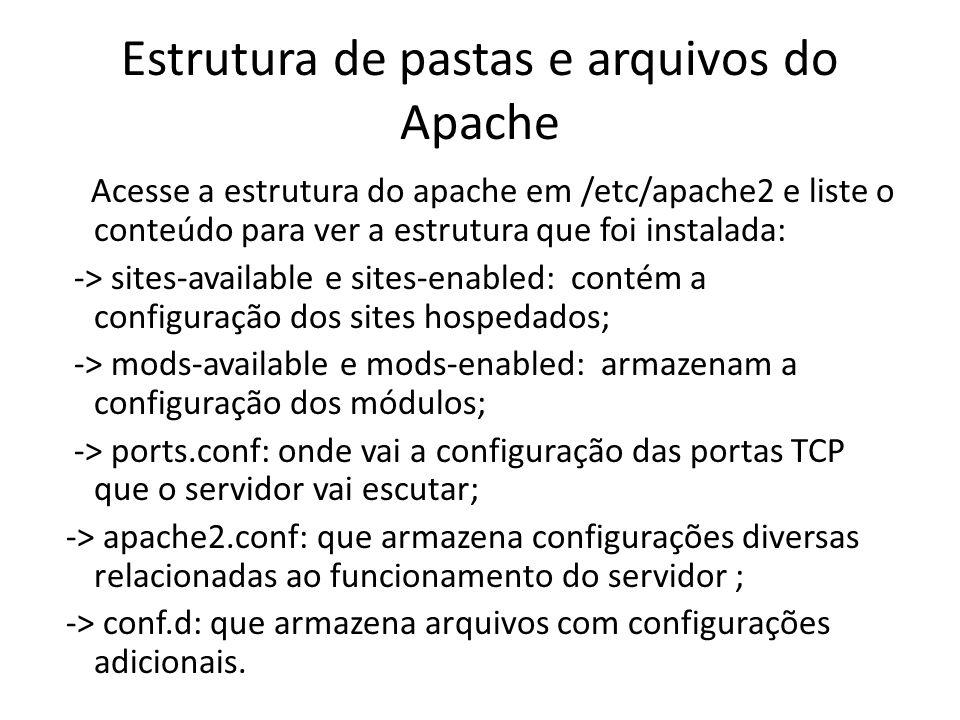 Estrutura de pastas e arquivos do Apache Acesse a estrutura do apache em /etc/apache2 e liste o conteúdo para ver a estrutura que foi instalada: -> si