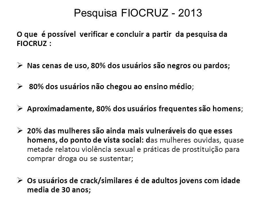 Pesquisa FIOCRUZ - 2013 O que é possível verificar e concluir a partir da pesquisa da FIOCRUZ : Nas cenas de uso, 80% dos usuários são negros ou pardo