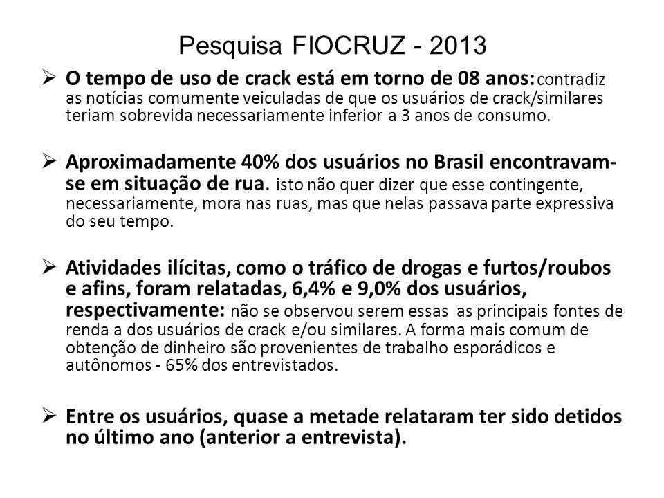 Pesquisa FIOCRUZ - 2013 O tempo de uso de crack está em torno de 08 anos: contradiz as notícias comumente veiculadas de que os usuários de crack/simil