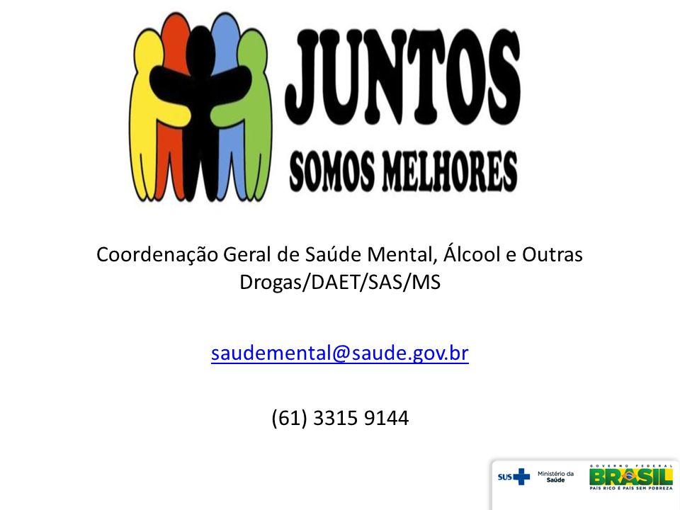 Coordenação Geral de Saúde Mental, Álcool e Outras Drogas/DAET/SAS/MS saudemental@saude.gov.br (61) 3315 9144
