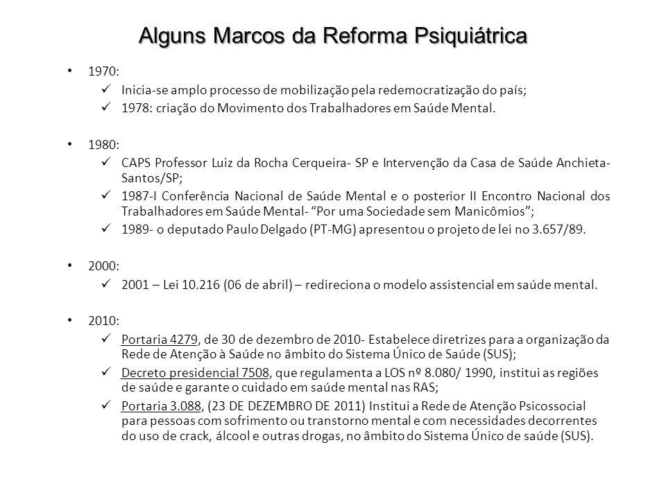 Alguns Marcos da Reforma Psiquiátrica 1970: Inicia-se amplo processo de mobilização pela redemocratização do país; 1978: criação do Movimento dos Trab