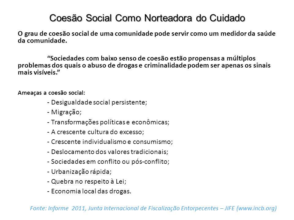 Coesão Social Como Norteadora do Cuidado O grau de coesão social de uma comunidade pode servir como um medidor da saúde da comunidade. Sociedades com