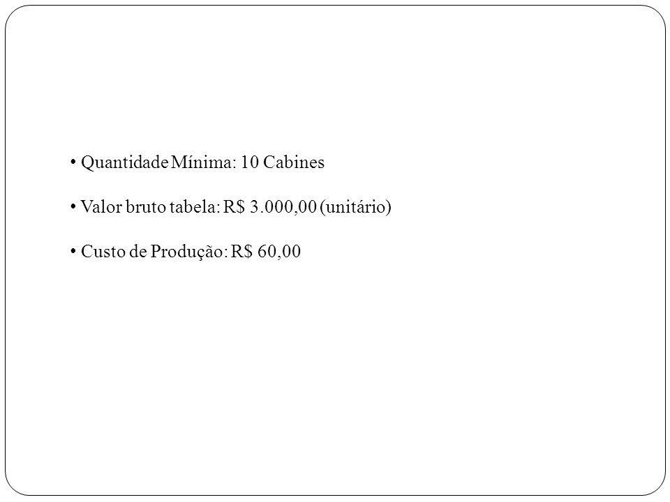 Quantidade Mínima: 10 Cabines Valor bruto tabela: R$ 3.000,00 (unitário) Custo de Produção: R$ 60,00