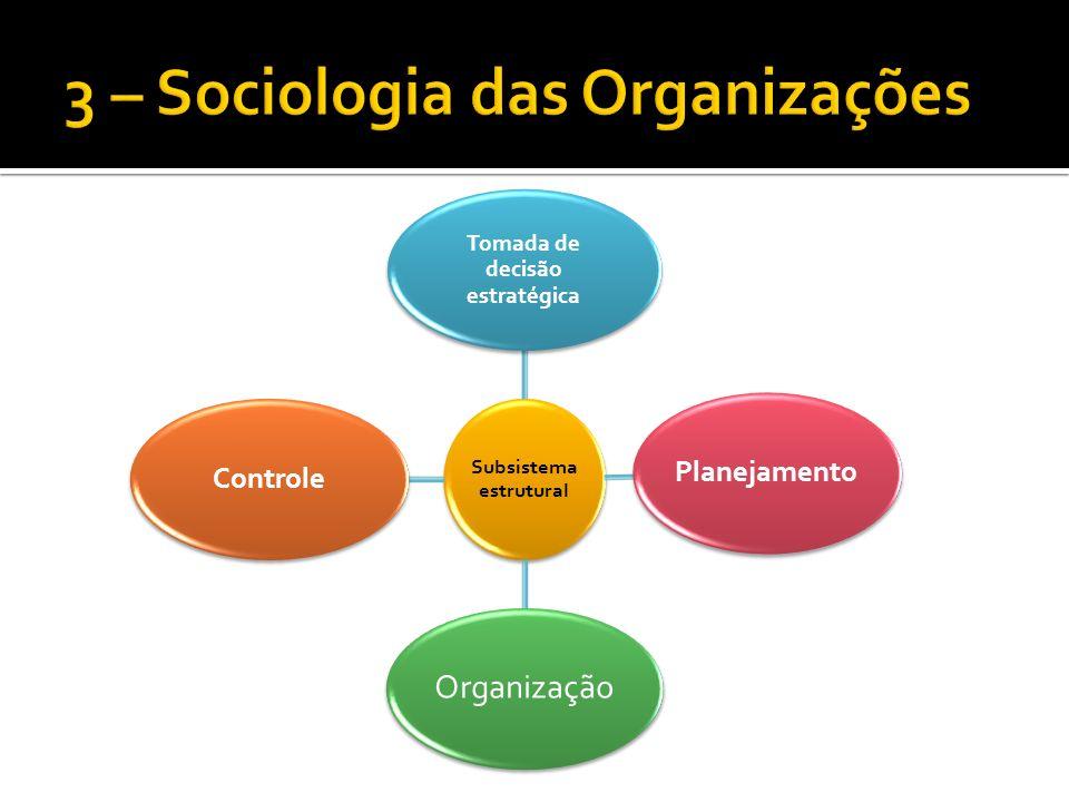 Subsistema estrutural Tomada de decisão estratégica Planejamento Organização Controle