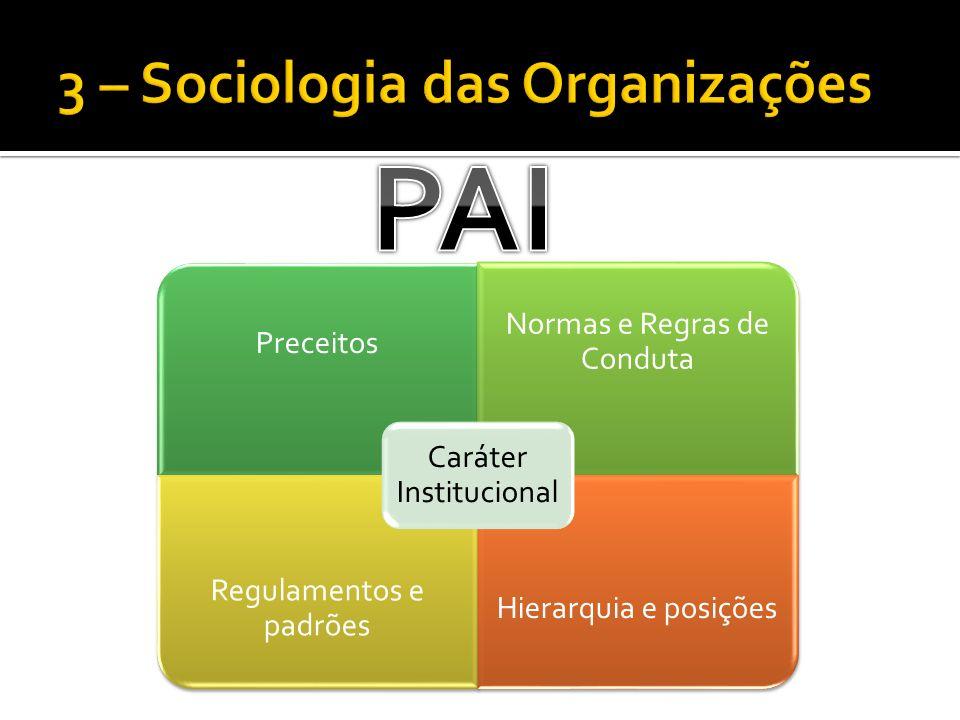 Preceitos Normas e Regras de Conduta Regulamentos e padrões Hierarquia e posições Caráter Institucional