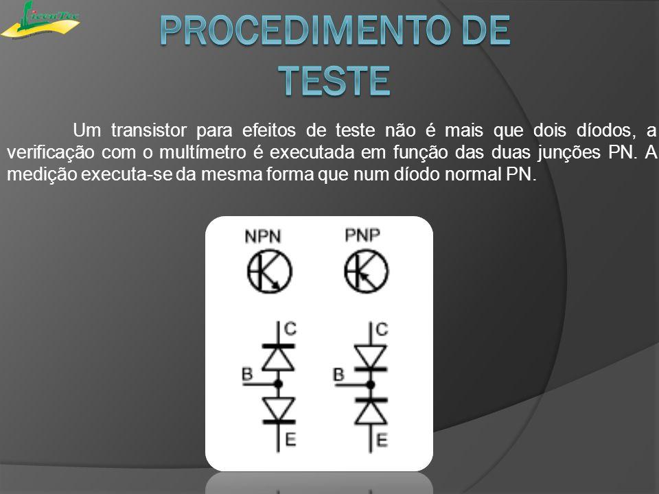 Um transistor para efeitos de teste não é mais que dois díodos, a verificação com o multímetro é executada em função das duas junções PN. A medição ex